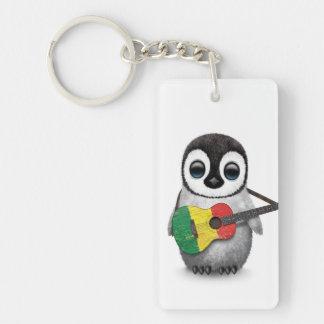 Baby Penguin Playing Mali Flag Guitar Keychain