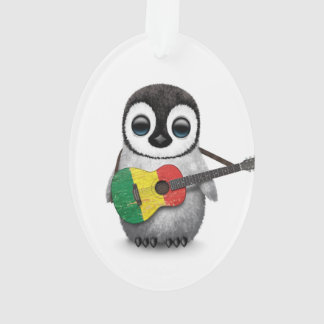 Baby Penguin Playing Mali Flag Guitar Ornament