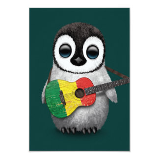 Baby Penguin Playing Mali Flag Guitar Teal Card