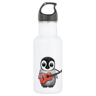 Baby Penguin Playing Manitoba Flag Guitar Stainless Steel Water Bottle
