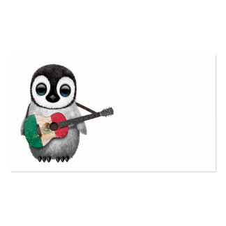 Baby Penguin Playing Mexican Flag Guitar Business Card