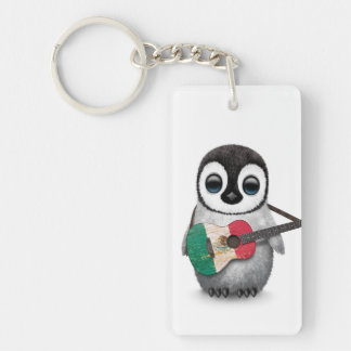 Baby Penguin Playing Mexican Flag Guitar Double-Sided Rectangular Acrylic Keychain