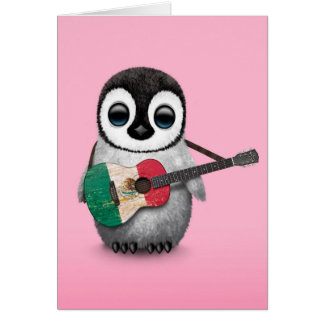 Baby Penguin Playing Mexican Flag Guitar Pink Greeting Card