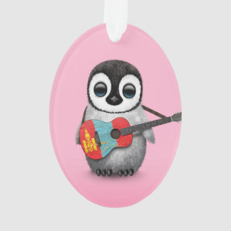 Baby Penguin Playing Mongolian Flag Guitar Pink Ornament