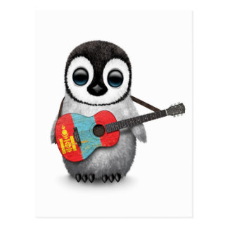 Baby Penguin Playing Mongolian Flag Guitar Postcard