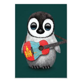 Baby Penguin Playing Mongolian Flag Guitar Teal Card