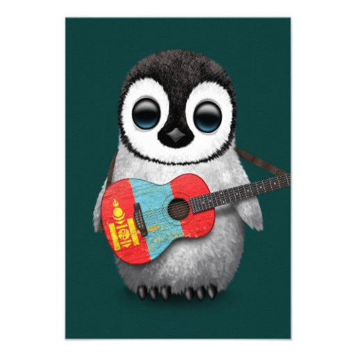 Baby Penguin Playing Mongolian Flag Guitar Teal Announcements