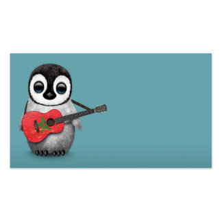 Baby Penguin Playing Morocco Flag Guitar Blue Business Card
