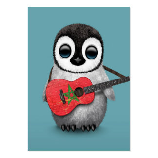 Baby Penguin Playing Morocco Flag Guitar Blue Large Business Card