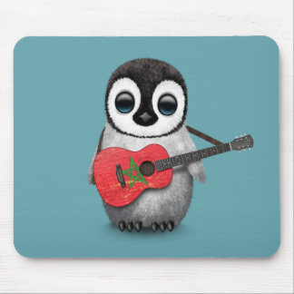 Baby Penguin Playing Morocco Flag Guitar Blue Mouse Pad