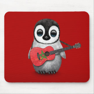 Baby Penguin Playing Morocco Flag Guitar Red Mouse Pad