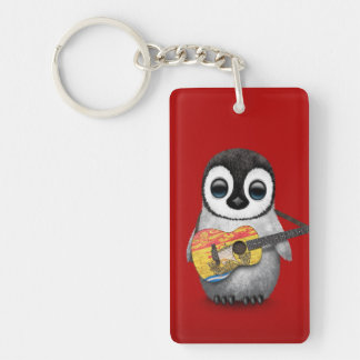 Baby Penguin Playing New Brunswick Flag Guitar Red Keychain