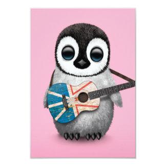 Baby Penguin Playing Newfoundland Flag Guitar Pink Card