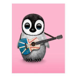 Baby Penguin Playing Newfoundland Flag Guitar Pink Postcard