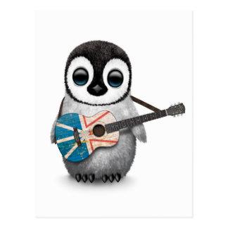 Baby Penguin Playing Newfoundland Flag Guitar Postcard