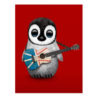 Baby Penguin Playing Newfoundland Flag Guitar Red Postcard