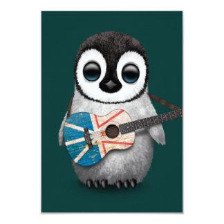 Baby Penguin Playing Newfoundland Flag Guitar Teal Card