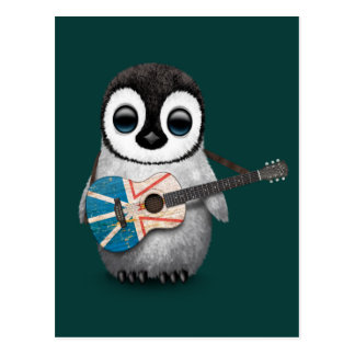 Baby Penguin Playing Newfoundland Flag Guitar Teal Postcard
