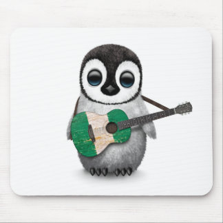 Baby Penguin Playing Nigerian Flag Guitar Mouse Pad