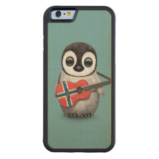 Baby Penguin Playing Norwegian Flag Guitar Blue Carved® Maple iPhone 6 Bumper Case