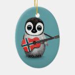 Baby Penguin Playing Norwegian Flag Guitar Blue Ceramic Ornament