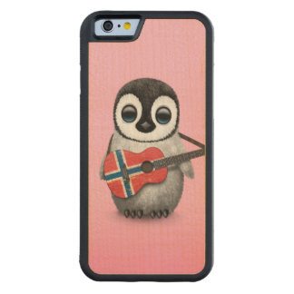 Baby Penguin Playing Norwegian Flag Guitar Pink Carved® Maple iPhone 6 Bumper Case