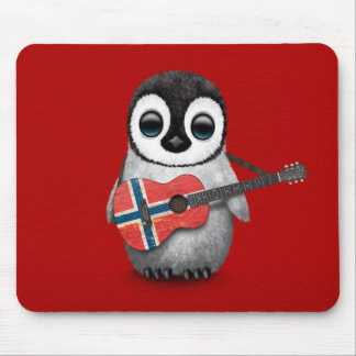 Baby Penguin Playing Norwegian Flag Guitar Red Mouse Pad