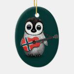 Baby Penguin Playing Norwegian Flag Guitar Teal Ceramic Ornament