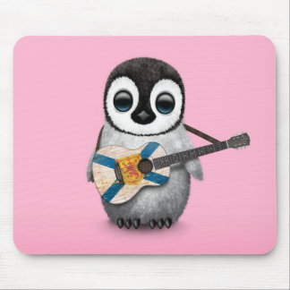 Baby Penguin Playing Nova Scotia Flag Guitar Pink Mouse Pad