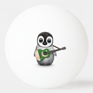Baby Penguin Playing Pakistani Flag Guitar Ping-Pong Ball