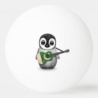 Baby Penguin Playing Pakistani Flag Guitar Ping-Pong Ball