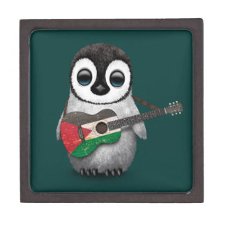 Baby Penguin Playing Palestinian Flag Guitar Teal Premium Jewelry Box