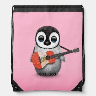 Baby Penguin Playing Peru Flag Guitar Pink Drawstring Backpacks