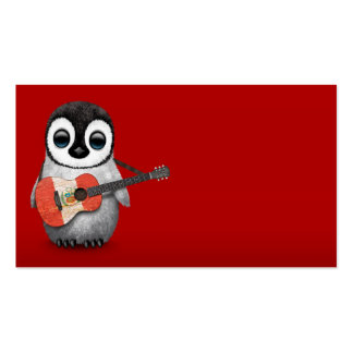 Baby Penguin Playing Peru Flag Guitar Red Business Card
