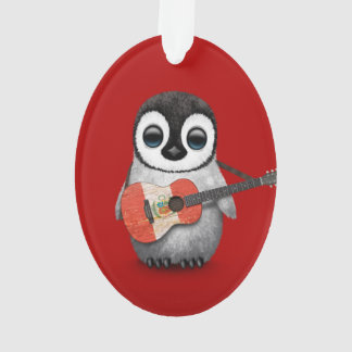 Baby Penguin Playing Peru Flag Guitar Red Ornament