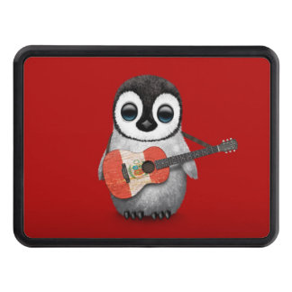 Baby Penguin Playing Peru Flag Guitar Red Tow Hitch Cover
