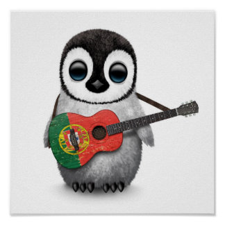 Baby Penguin Playing Portuguese Flag Guitar Poster
