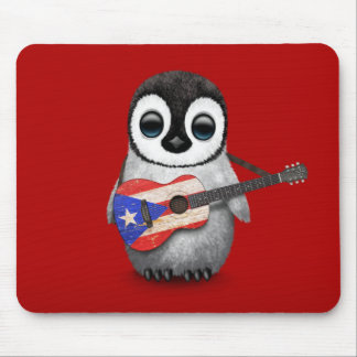 Baby Penguin Playing Puerto Rico Flag Guitar Red Mouse Pad