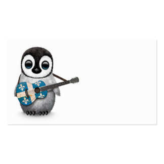 Baby Penguin Playing Quebec Flag Guitar Business Card Template