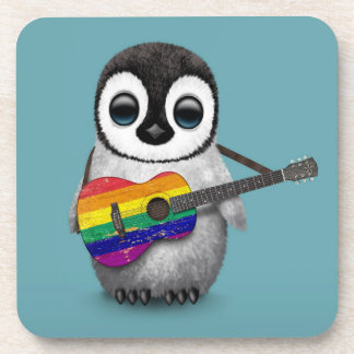 Baby Penguin Playing Rainbow Flag Guitar Blue Coaster