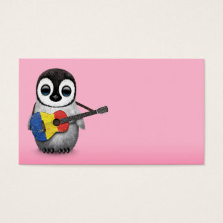 Baby Penguin Playing Romanian Flag Guitar Pink Business Card