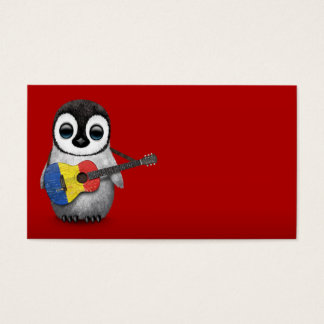 Baby Penguin Playing Romanian Flag Guitar Red Business Card