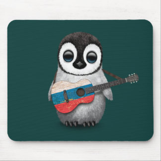 Baby Penguin Playing Russian Flag Guitar Teal Mouse Pad