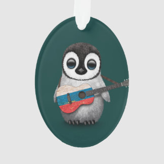 Baby Penguin Playing Russian Flag Guitar Teal Ornament