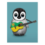 Baby Penguin Playing Saskatchewan Flag Guitar Blue Post Cards