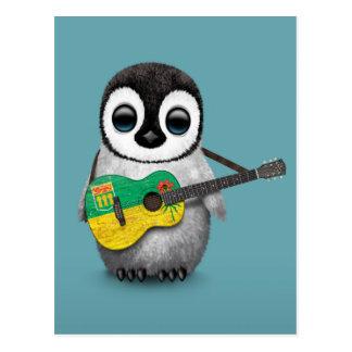 Baby Penguin Playing Saskatchewan Flag Guitar Blue Postcard