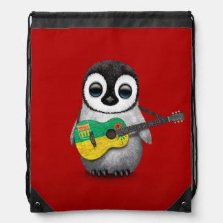Baby Penguin Playing Saskatchewan Flag Guitar Red Drawstring Backpack
