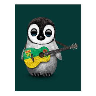 Baby Penguin Playing Saskatchewan Flag Guitar Teal Postcard