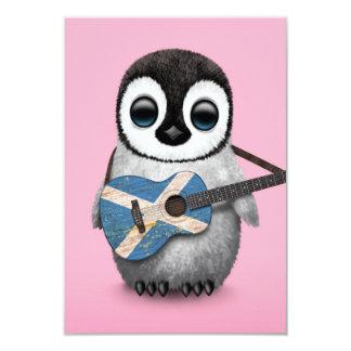 Baby Penguin Playing Scottish Flag Guitar Pink Card