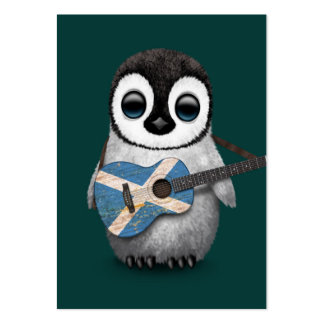 Baby Penguin Playing Scottish Flag Guitar Teal Large Business Card